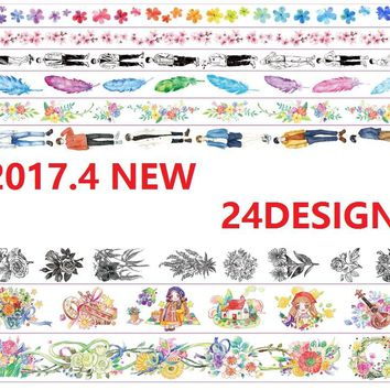 24Designs Flowers/Leaves/Girls/Whale/Feather/Map Pattern Japanese Washi Decorative Adhesive DIY Masking Paper Tape Sticker Label