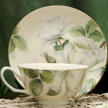 White Iceberg Rose Chintz Bone China Tea Cup and Saucer