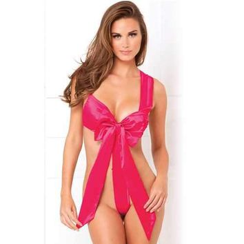 6b2426d6aaae4 Unwrap Me Satin Bow Teddy Hot Pink S M