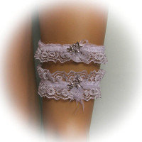 Lace Wedding Garter Set in White with Rose Brooch, Bridal Garter, Vintage Garter, Stretch Garter, Crystal Garter, Toss Garter, Prom Garter