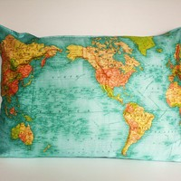 FLOOR CUSHION WORLD map  cushion, gant organic cotton cushion cover, bean bag, world map cushion, pillow 86cm/34inches x 61cm/ 24 inches .