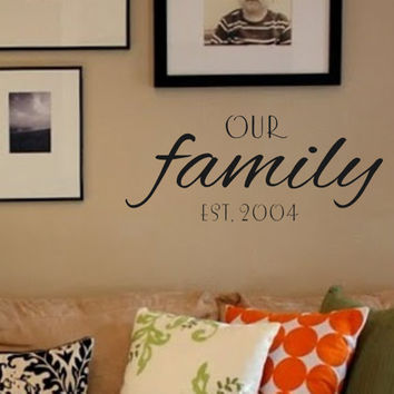 Family Wall Decal- Our Family with Est. Date-Vinyl Wall Decal Personalized Wall & Kitchen Vinyl Wall Decal- Acts 2 46- from landbgraphics on Etsy