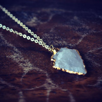 ARROWHEAD Crystal Quartz Gold Bohemian Layering Necklace