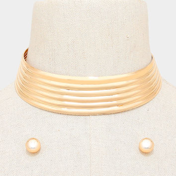 "12"" gold ribbed striped choker collar bib necklace .50"" earrings"
