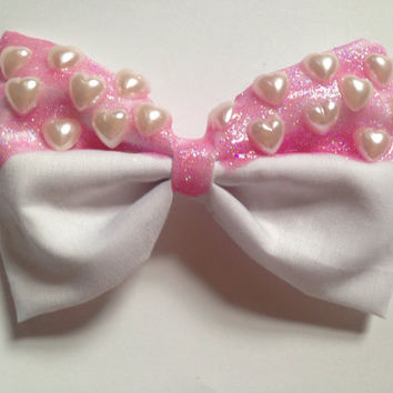 Pastel Glitter Pink Hair Bow Princess Heart Hearts Fairy Kei Kawaii Sweet Lolita
