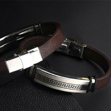 Mens Brown Leather Bracelet with Silver Etching
