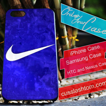 Exclusive Nike Blue iPhone for 4 5 5c 6 Plus Case, Samsung Galaxy for S3 S4 S5 Note 3 4 Case, iPod for 4 5 Case, HtC One M7 M8