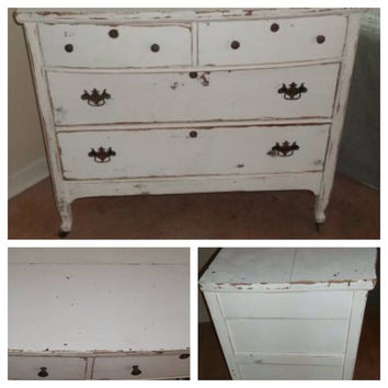 White Shabby Chic Distressed Dresser/Entry Table/Credenza/Entertainment Console