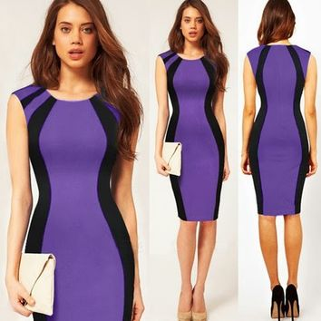 New Women's Bodycon Fitted Sheath Knee Length Dresses Patchwork Color Block 1OS