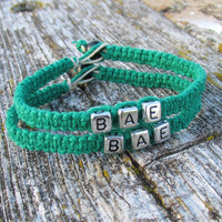 Dark Green Couples Bracelets, BAE, Macrame Hemp Jewelry, Eco-friendly Accessory