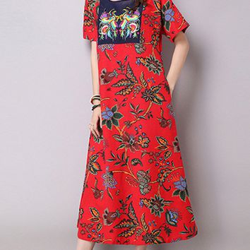 Streetstyle  Casual Ethnic Style Floral Printed Round Neck Pocket Maxi Dress