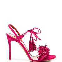 Aquazzura Wild Thing Suede Sandals in Pink Pink