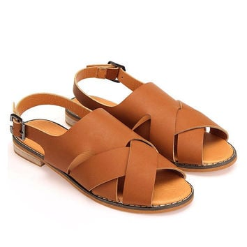 Brown Cross Strap Leather Flat Sandals