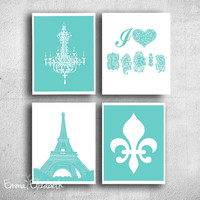 French art print set Tiffany blue Fleur de lis print Chandelier wall decor I love Paris art Eiffel Tower Girls room Aqua green for her 8x10