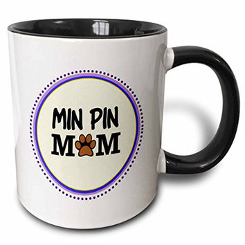 3dRose Min Pin Dog Mom Miniature Pinscher Doggie Mama By Breed Paw-Print Mum Love Doggy Lover Pet Owner Two Tone Black Mug, 11 oz, Black/White