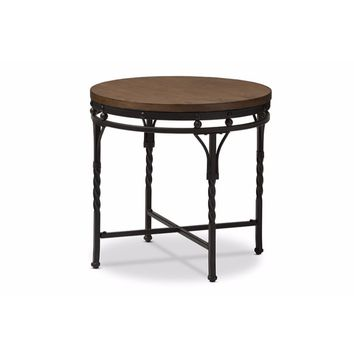 Austin Vintage Industrial Antique Bronze Round End Table By Baxton Studio