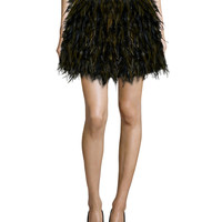 Cina A-Line Feather Skirt, Black/Army Green, Size: