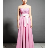 Beautiful Chiffon Strapless Sweetheart Neckline A-Line Bridesmaid Dress With Fabulous Sash SB2158
