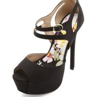 Peep Toe Cut-Out Ankle Strap Platform Heels - Black