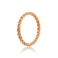 Rigant 18K RGP Alloy Rope Design Ring Sz 9 (Champagne Gold)