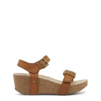 "Women's Brown Vegan Leather ""Xti"" Sandals/Wedges/Platform Shoes with Side Buckle Closure & Cork Soles"