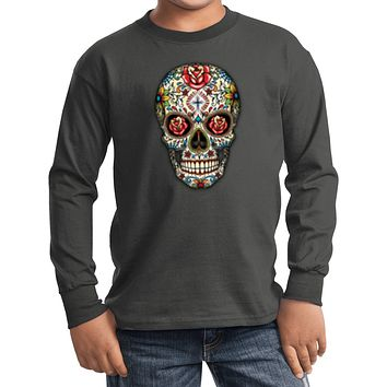 Kids Halloween T-shirt Sugar Skull with Roses Youth Long Sleeve