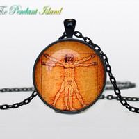 VITRUVIAN MAN PENDANT vitruvian man jewelry vitruvian man necklace picture Gifts for Him  Jewelry  Fantasy Pendant Art Gifts for Her