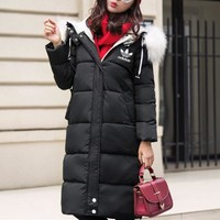 """Adidas"" Women Casual Fashion Middle Long Section Hooded Fur Collar Long Sleeve Cardigan Cotton-padded Clothes Bread Service Coat"