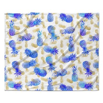 "Noonday Design ""Pineapple Party"" Blue Illustration Fleece Throw Blanket"