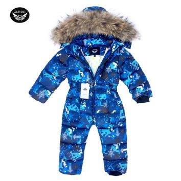 Children Skiing Suit Winter Snowsuit Baby Boys Jumpsuits Clothing Waterproof Down Warm Jacket Girls Siamese -30 Degree 3-8 Years