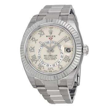 Rolex Sky Dweller Ivory Dial 18K White Gold Rolex Oyster Automatic Mens Watch