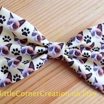 Grumpy Cat Themed Hair Bow or  Bow Tie