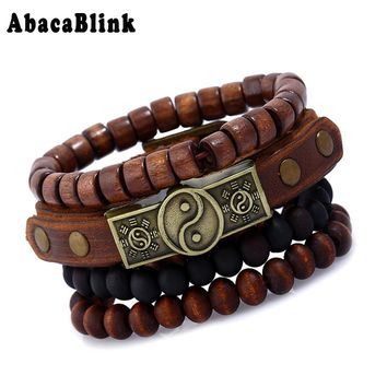 Yin Yang Tai Chi Bracelets Set Multilayer Wooden Beads Rosary Men Bracelet Wristband Cuff Punk Rock Male Bangles Leather Jewelry