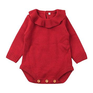 Baby Girls Doll Collar Knit Romper Newborn Baby Girls Long Sleeve Wool Knitting Romper  Warm Knitted Jumpsuit Baby Clothing