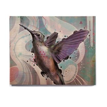 "Mat Miller ""Reaching"" Hummingbird Birchwood Wall Art"
