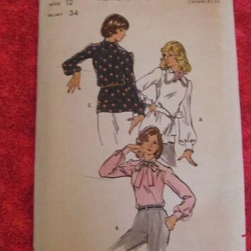 SALE Uncut 1970's Butterick Sewing Patterns, 3456! Size 12, Bust 34 Women's Casual or Formal Blouses Shirts, Hippie Loose Fitting, Summer Sp