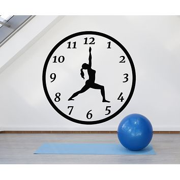 Vinyl Wall Decal Yoga Time Girl Silhouette Pose Clock Mediation Stickers Mural (g1242)