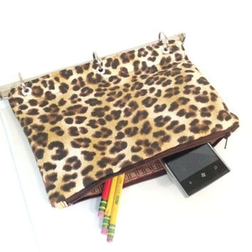 Binder Pencil Case Leopard Organizer for 3 Ring Binder  Brown Pencil Case Ready to Ship School Supplies Kids Gift Back to School