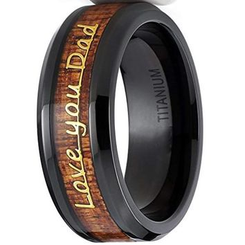 CERTIFIED 8mm Men's Black Titanium DAD/Father's Ring Band With Wood Inlay