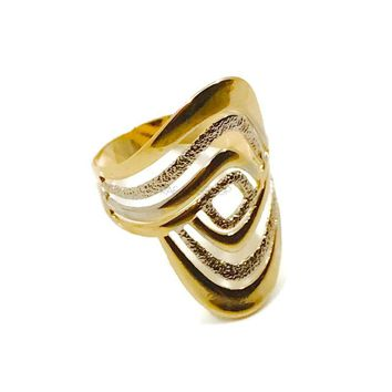 Rombo Shape Spirals SIlver and Gold Plated 18Kts Ring