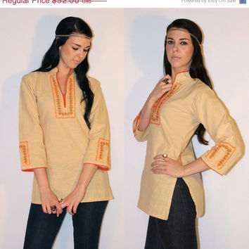 Vintage 60s HIPPIE Shirt, Tunic Linen BEADED + Embroidered Mandarin Collar FESTIVAL Shirt