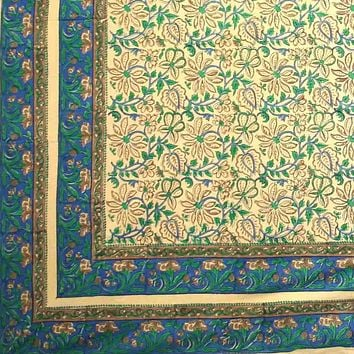 Block Print Tapestry Wall Hanging Cotton Floral Tablecloth Spread Green Blue Full