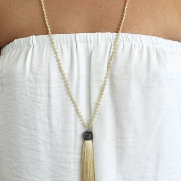 Beaded Chain with Tassel Dangle Long Necklace
