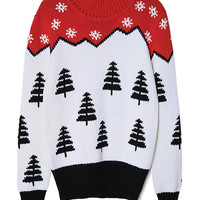 Color Block Snowflake Christmas Tree Patterned Sweater