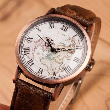women vintage style world map casual sports leather watch gift 2