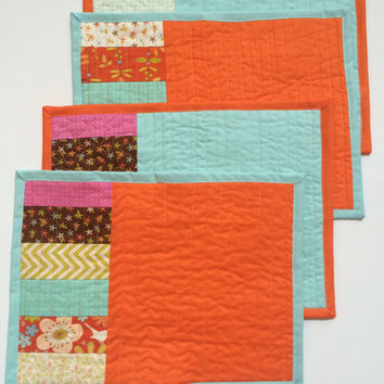 Quilted placemats, Spring placemats, placemats