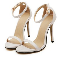 Fashion Summer Women Open Toed Stripe Contracted Heel Strap Sandals White