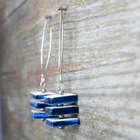 Ceramic cube earrings  -blue and white, gift for women and girls
