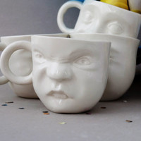 Small Ceramic Mugs Set , Porcelain Tea Cup Set , Unique Coffee Mugs , Espresso Cup , Face Cup Unique Gift Ceramics Pottery SCULPTUREinDESIGN