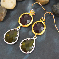 SALE10%) B-027 Glass earrings, Amethyst&khaki drop earrings, Dangle earrings, Gold and silver plated/Bridesmaid gifts/Everyday jewelry/